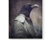 "Halloween Raven Art Print, Anthropomorphic, Gothic Decor, Halloween Gift, Creepy Art, Raven Photography, 8 x 10, ""Corvus"""