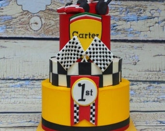 Edible Race Car Name Plaque and cake decoration