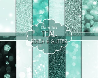"""Teal digital paper: """"TEAL BOKEH & GLITTER"""" with teal glitter background and teal bokeh background for photographers and scrapbooking"""