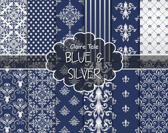 "Damask digital paper: ""BLUE & SILVER DAMASK"" with silver and blue paper damask backgrounds and classical damask patterns"
