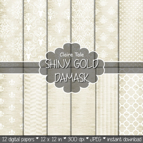 "Gold damask digital paper: ""SHINY GOLD DAMASK"" with classic damask pattern, fleur de lis, quatrefoil, stripes, polka dots on gold background"