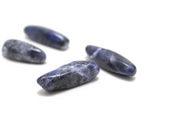 Genuine Sodalite Stones Long Dagger Shaped Top Side Drilled 25-30mm 4pcs