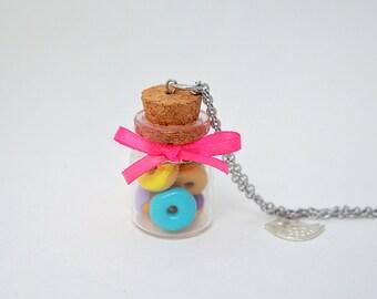 Flask donuts, pendant glass jar with donuts, greedy jewel, jewel sweet donuts in fimo, greedy necklace kawaii, donut fimo