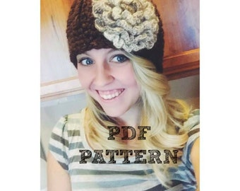 Bulky Ribbed Flower Beanie Crochet Pattern