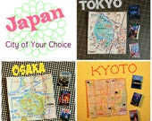 Miniature Map +Travel Guide Set * Pick A City: Tokyo * Kyoto * Osaka Japan (1/6 scale doll playscale)