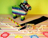 Miniature Donkey Piñata + Candy Party Set (playscale 1:6 scale diorama play doll mini) Birthday Burro Pinata Mexican Fiesta