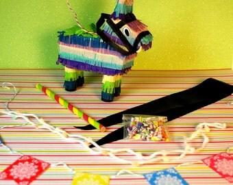 Miniature Donkey Piñata + Candy Party Set (playscale 1:6 scale diorama play mini fashion/teen dolls) Birthday Burro Pinata Mexican Fiesta