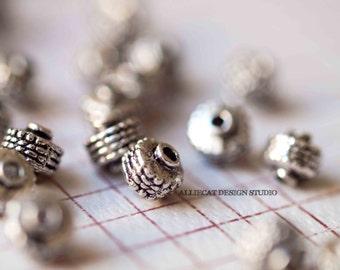 10 Silver Plate 7x6x7mm Bali Beads (F0146)