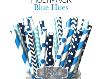 Blue Paper Straws, BLUE HUES Multipack, Blue, Navy, Light Blue, Chevron, Dots, Vintage, 25 Straws, 5 Designs
