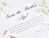 INSTANT DOWNLOAD Guess The Bride's Age Game // Bridal Shower // Calligraphy Script Font // PDF // Charitable Donation