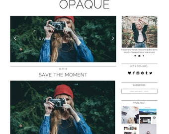 "Blogger Template ""OPAQUE"" // Responsive Photography Premade Blog Theme Blogspot Design"