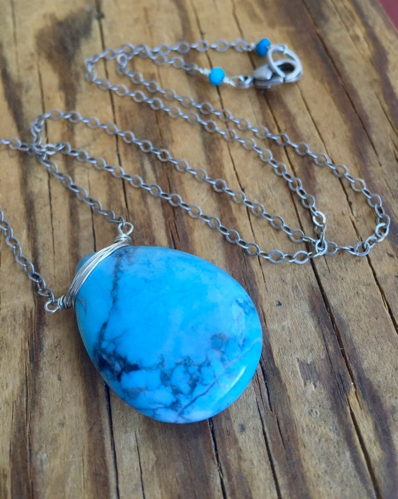 Blue Magnesite Pendant Necklace, Sky Blue, Water, Throat Chakra Necklace, Self Esteem, Relaxation , High Vibration, December Birthstone