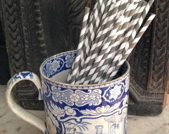 1800s antique chinoiserie mug, 1800s blue and white transferware mug