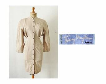 80s THIERRY MUGLER dress, French designer working power girl dress, high fashion beige cotton dress size S M 8 10