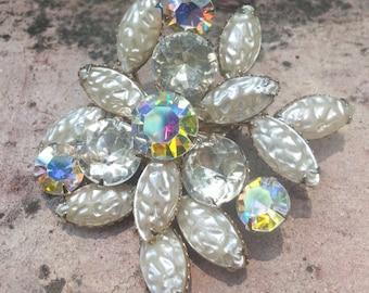 Vintage Rhinestone Brooch, Aurora borealis rhinestone brooch, Pearlescent Rhinestone Brooch, Textured Glass, AB rhinestone