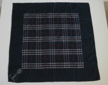 Vintage BURBERRYS' Silk Scarf,Dark Blue Square BURBERRY Logo Foulard,Pure Silk,Hand Rolled Edges,Made in Italy