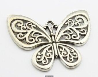 5pcs 56x50mm Antique Silver Butterfly Pendants