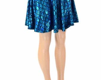 Mermaid Scale Turquoise & Black Hologram Sparkle Skater Skirt 151220