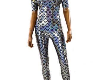 Silver Sharp Shoulder Dragon Scale Holographic Catsuit Bodysuit Steampunk Onsie   -151332