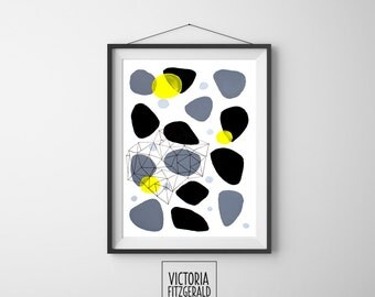 Monochrome Grey Black Abstract - Geometric Art - A4 print - Minimalist Art -  Pattern Art
