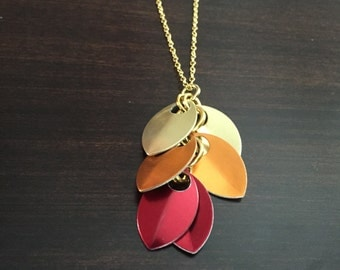 gold, orange, red necklace, leaf necklace, leaf, gold leaf, orange necklace, red necklace, gold necklace