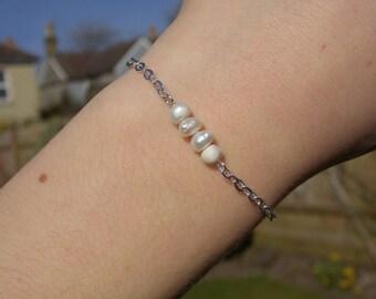Dainty Fresh Water Pearl Bracelet - Silver Chain