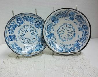 White enamelware, plates, Blue and White, Hand Painted, Scandinavian Design, Rosemaling, Swedish, Norwegian, Folk Art  Wall Decor, Wall Art.