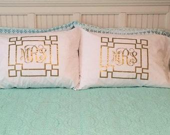 Monogrammed Greek Key Pillowcases