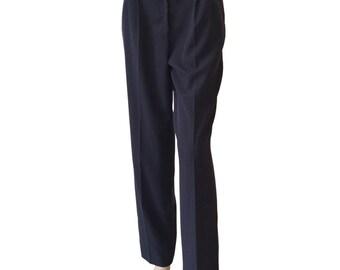 Navy 80s Vintage Pleated Pants Size S M A L L
