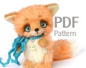 """Pattern teddy fox Malwin PDF 4.9"""", artist teddy fox pattern, ePattern, sewing pattern, fox pattern"""