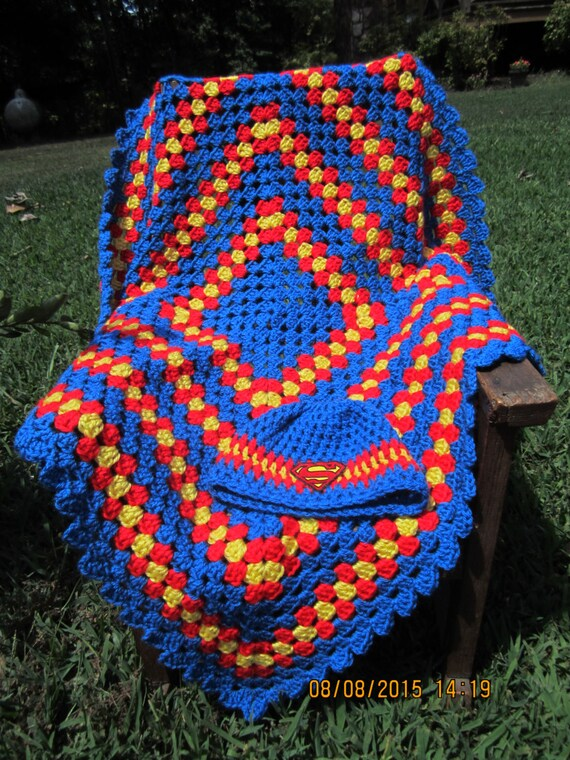 superman baby crochet blanket set and hat baby afghan