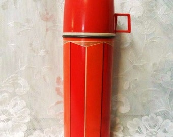 King Seeley Thermos Co.- Retro Classic #2210- Picnics-Coffee-Glass Lined-Vintage Beverage Container-KST Thermos Co.- Red-Orange Graphic
