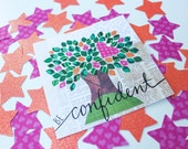 Confident Tree Art // Digital Download, 4x4 inch, Printable, Instant Download, journaling bible supplies, inspirational art, #faithcard