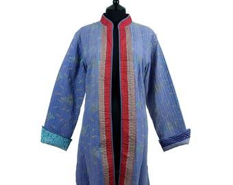 KANTHA JACKET - Large - Long style - Size 14/16 - Pastel blue. Reverse blue and orange.