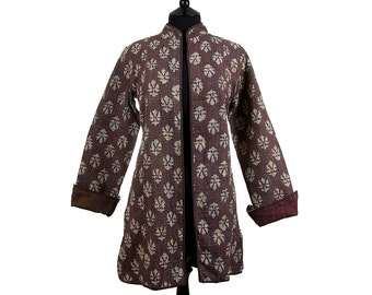 KANTHA JACKET - Small - Long style - Size 10/12 - Chocolate brown. Reverse maroon.