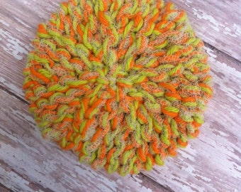 Orange Lime Knit Anytime Scrubbie