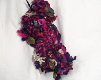 """handspun yarn, art yarn, super bulky yarn, magenta, pink, purple, charms, """"Lovebirds yarn"""""""