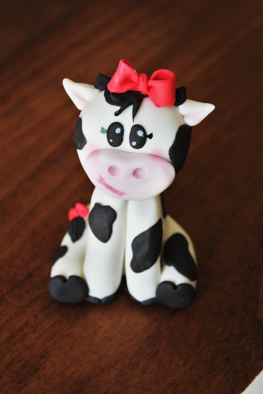 Fondant Girl Cow 3D cake Topper