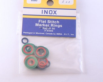 30 INOX Vintage Plastic Stitch Markers For Knitting - 3 Sizes