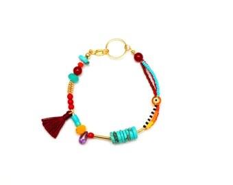 Beaded Friendship Bracelet - Tassel Bracelet - Seed Bead Bracelet - Stacking Bracelet - Layered Bracelet - Summer Bracelet