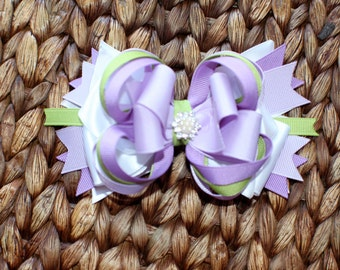 Purple, Green and White Stacked Hair Bow with Rhinestone