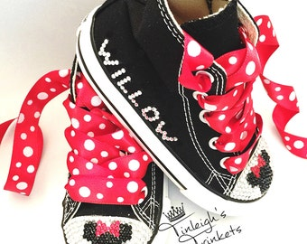 Adorn with Minnie Mouse Red Personalized Toddler Hi Top Rhinestone Converse Bling Shoes