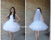 Bride bachelorette tutu skirt and veil, bridal tutu set, fun bachelorette party decorations, Bachelorette party outfit