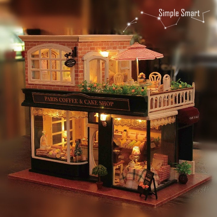 1 24 Miniature Dollhouse Diy Kit Paris Coffee And Cake Shop