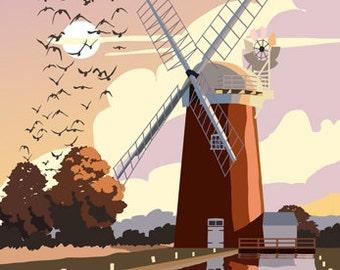 HORSEY. Travel style Poster of Horsey Windpump, Horsey Mere, Norfolk Broads. A4, A3, A2
