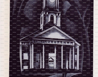 """Harper's Monthly Magazine Book Plate. """"New England Church"""". Howard Cook. 1932."""
