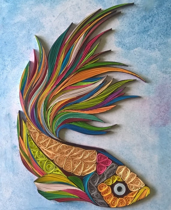 khaleelrm hand made fish paper quilling art gift box framed rh spreesy com images of quilling paper art