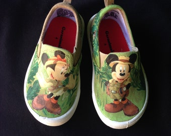 Mickey and Minnie Safari Painted Canvas Shoes