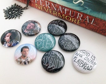 Supernatural Pins Supernatural Buttons Dean Winchester Pin Castiel Pin Sam Winchester Pin Supernatural Pins Supernatural Buttons