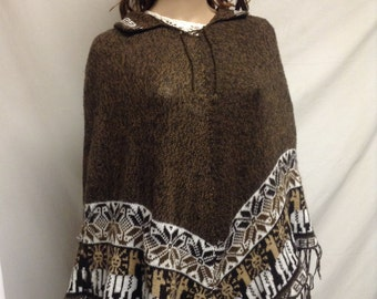 Poncho top, Knit Poncho, Brown, Tan, Snowflakes, Fringed, Soft, Free shipping in the US